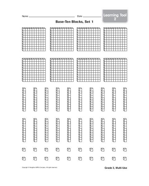 Base-ten Blocks Worksheet for Kindergarten - 1st Grade ...