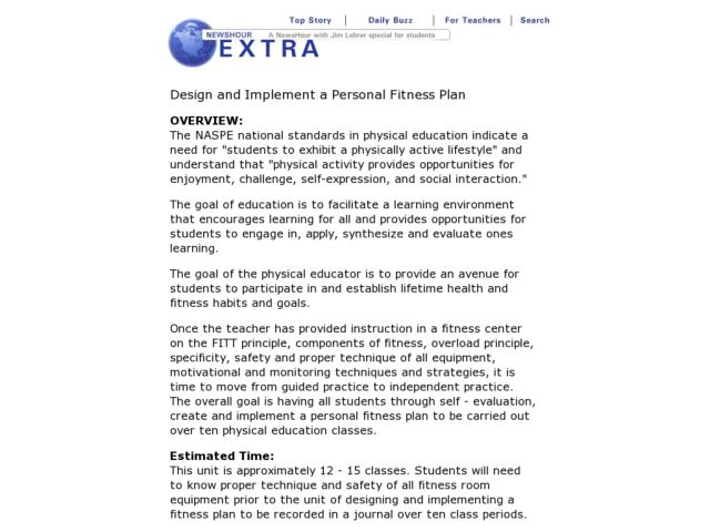Design and Implement a Personal Fitness Plan Lesson Plan