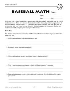 Baseball Math Worksheet