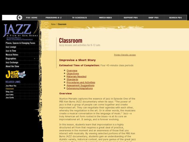 Improvise a Short Story through Jazz Lesson Plan