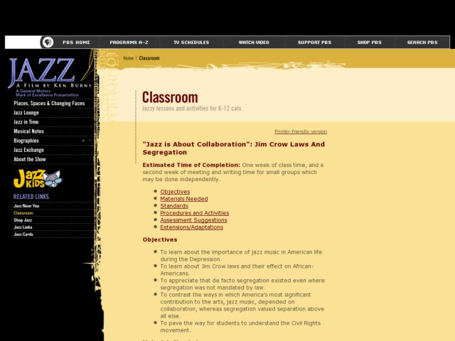"""Jazz is About Collaboration"": Jim Crow Laws And Segregation Lesson Plan"