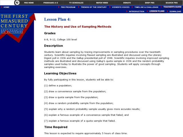 The History and Use of Sampling Methods Lesson Plan