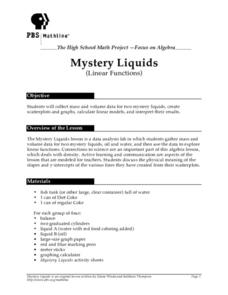 Mystery Liquids: Linear Function Lesson Plan