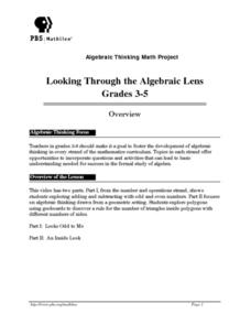 Looking Through the Algebraic Lens Lesson Plan