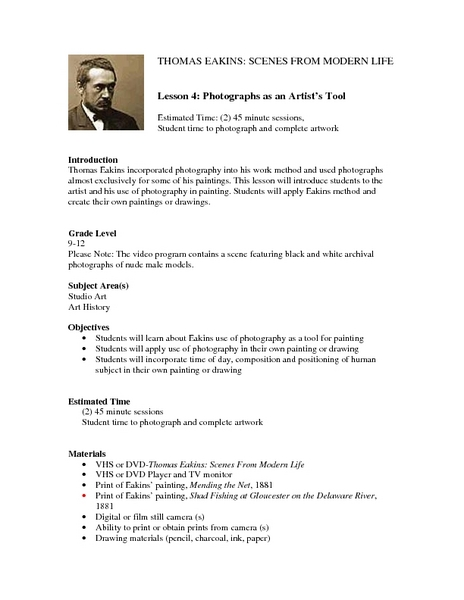 Photographs as an Artist's Tool Lesson Plan