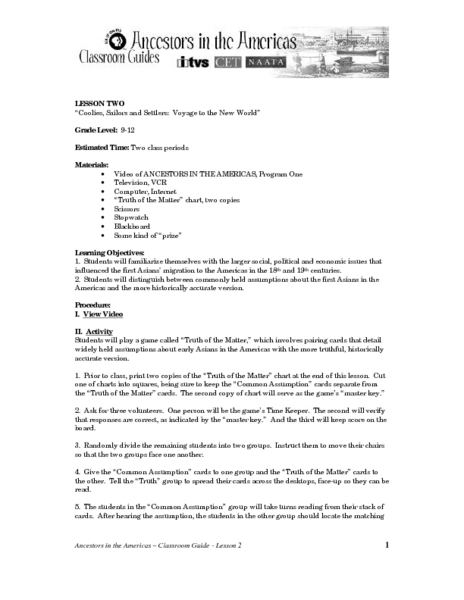 """Coolies, Sailors and Settlers: Voyage to the New World"" Lesson Plan"