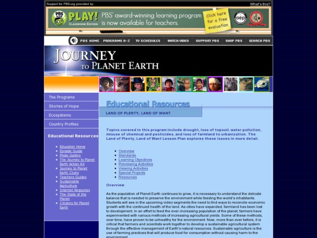 Land of Plenty, Land of Want Lesson Plan