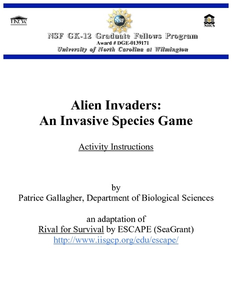 Alien Invaders: An Invasive Species Game Lesson Plan