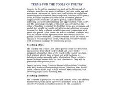 Terms for the Tools of Poetry Lesson Plan