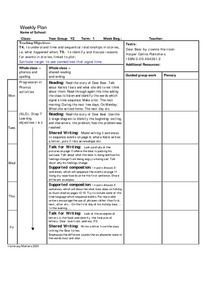 Connectives That Signal Time Lesson Plan