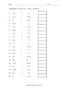 Basic Algebra Worksheet