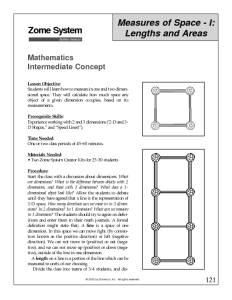 Measures of Space I: Lengths and Areas Lesson Plan