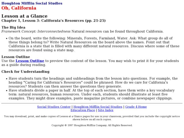 California's Resources Lesson Plan
