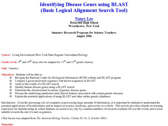 Identifying Disease Genes using BLAST Lesson Plan
