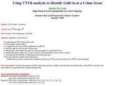 Using VNTR Analysis to Identify Guilt at a Crime Scene Lesson Plan