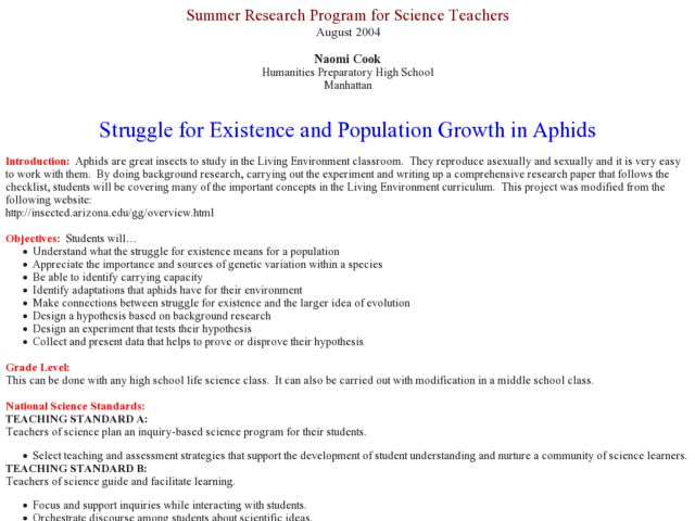 Struggle for Existence and Population Growth in Aphids Lesson Plan