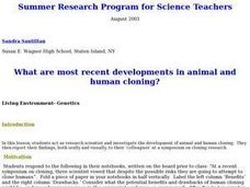 What Are the Most Recent Developments in Animal and Human Cloning? Lesson Plan