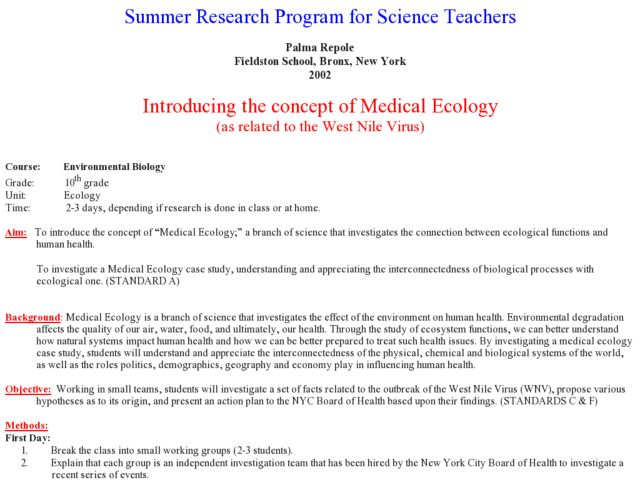 Introducting the Concept of Medical Ecology Lesson Plan