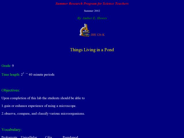 Things Living in a Pond Lesson Plan