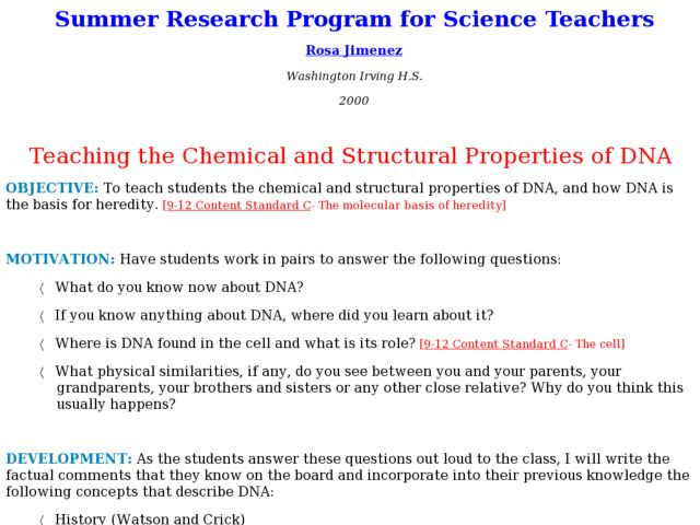 Teaching the Chemical and Structural Properties of DNA Lesson Plan