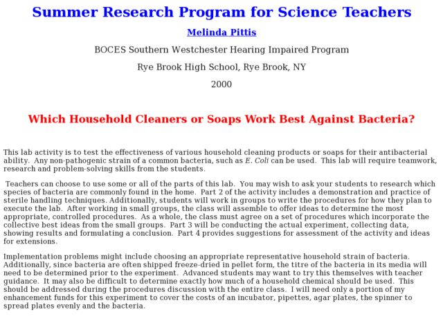 Which Household Cleaners or Soaps Work Best Against Bacteria? Lesson Plan