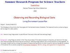 Observing and Recording Biological Data Lesson Plan