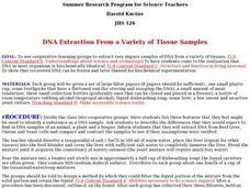DNA Extraction From a Variety of Tissue Samples Lesson Plan