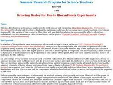 Growing Barley for Use in Biosynthesis Experiments Lesson Plan