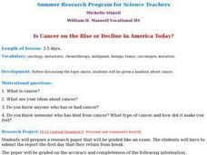 Is Cancer on the Rise or Decline in America Today? Lesson Plan
