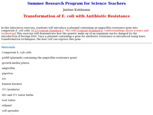 Transformation of E. coli with Antibiotic Resistance Lesson Plan