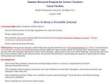 How to Keep a Scientific Journal Lesson Plan
