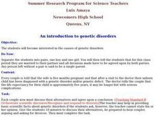 An Introduction To Genetic Disorders Lesson Plan