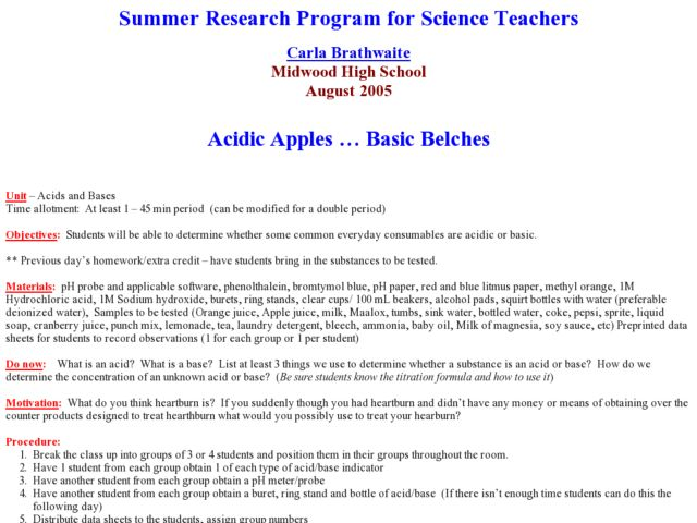 Acidic Apples and Basic Belches Lesson Plan