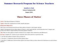 The Physical Behavior of Matter Lesson Plan