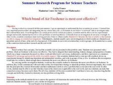Which Brand of Air Freshener is Most Cost Effective? Lesson Plan
