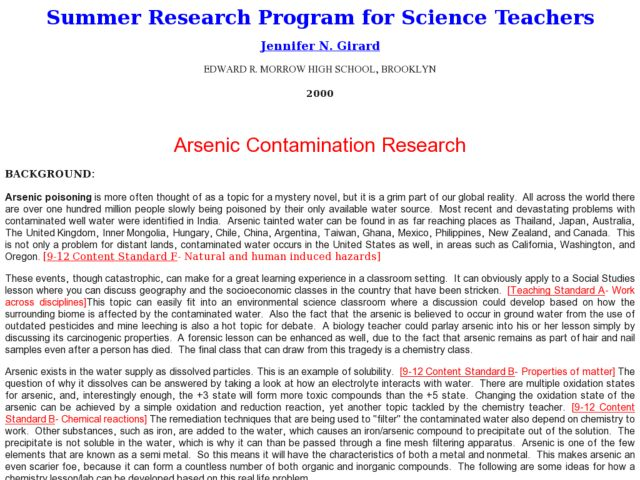 Arsenic Contamination: Water Filtration Lesson Plan