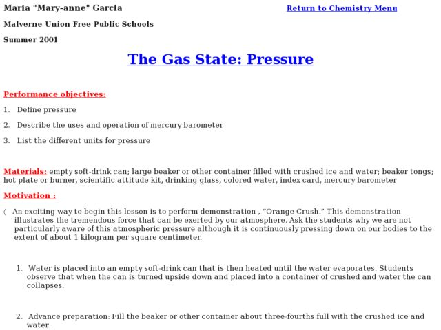 The Gas State: Pressure Lesson Plan