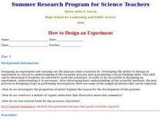 How to Design an Experiment Lesson Plan