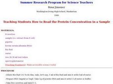 Teaching Students How to Read the Protein Concentration in a Sample Lesson Plan
