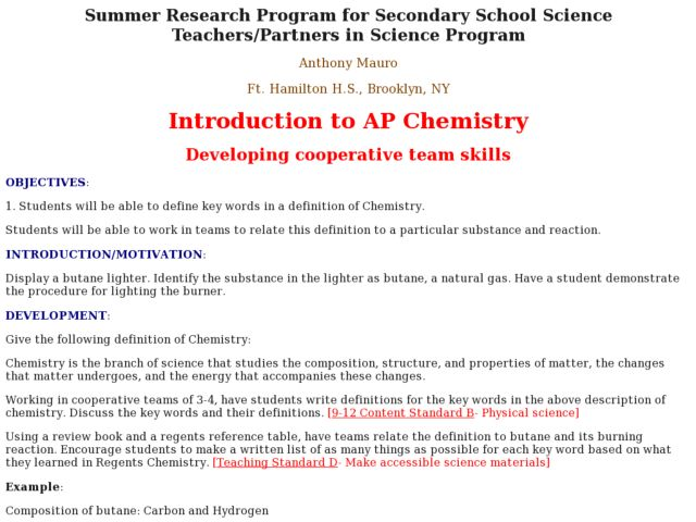 Introduction to AP Chemistry Lesson Plan