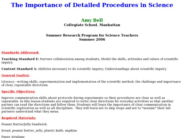 The Importance of Detailed Procedures in Science Lesson Plan