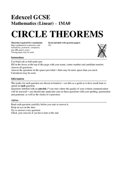 Circle Theorems Assessment for 9th - 12th Grade | Lesson Planet