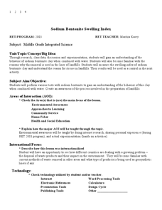 Sodium Bentonite Swelling Index Lesson Plan