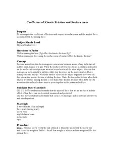 Coefficient of Kinetic Friction and Surface Area Lesson Plan