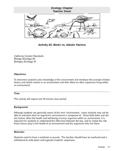 Biotic and Abiotic Lesson Plans & Worksheets Reviewed by Teachers