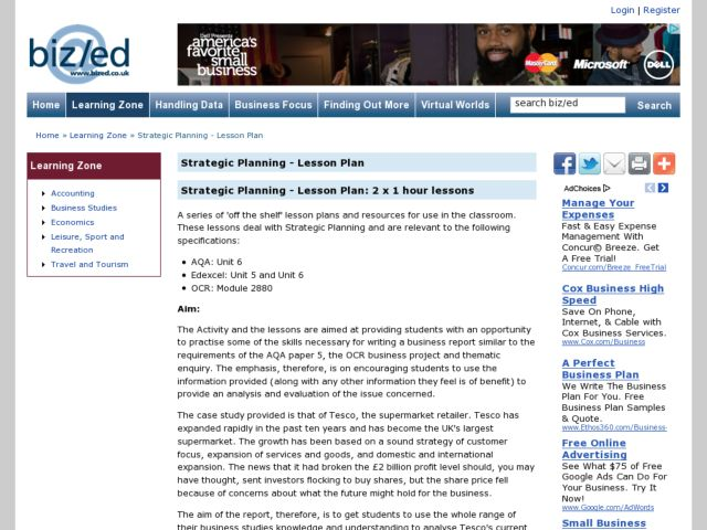 Strategic Planning - Lesson Plan: 2 x 1 hour lessons Lesson Plan