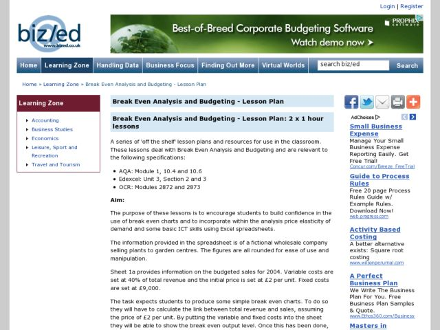 Break Even Analysis and Budgeting Lesson Plan