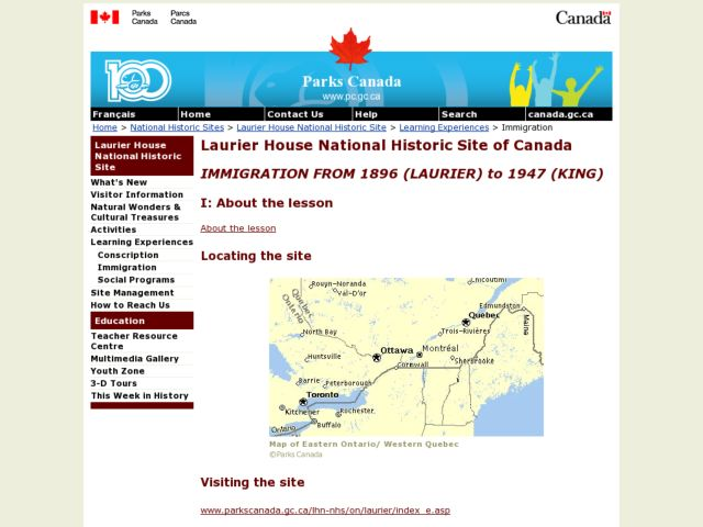 Laurier House National Historic Site of Canada  Immigration From 1896 (laurier) To 1947 (king) Lesson Plan