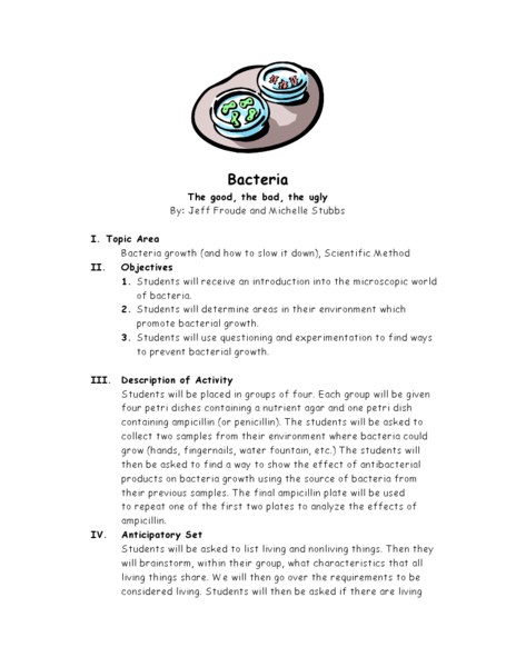 Bacteria: The good, the bad, the ugly Lesson Plan