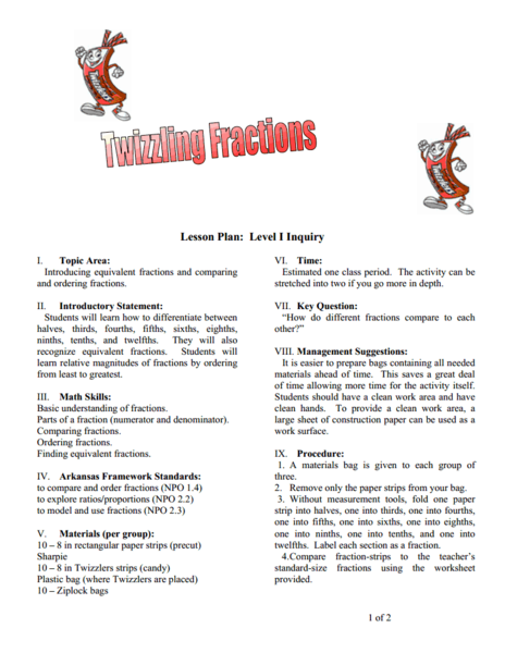 Twizzling Fractions Lesson Plan